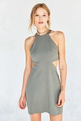 Silence And Noise Meeko Cutout Bodycon Mini Dress Olive
