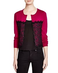 Nanette Lepore Lace Overlay Cardigan Pink Black