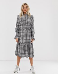 Just Female Noele Tiered Check Maxi Dress Grey
