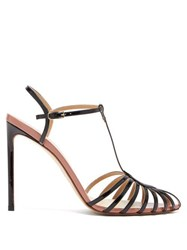 Francesco Russo Caged T Bar Patent Leather Sandals Black