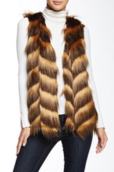 Romeo And Juliet Couture V Neck Faux Fur Vest Brown