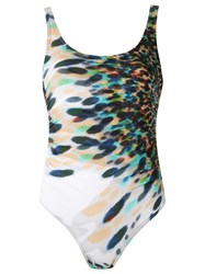 Amir Slama Printed Swimsuit White