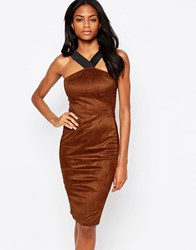 Ax Paris Suedette Midi Dress With Strap Detail Rust Red
