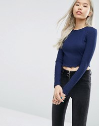 Asos Crop Crew Neck Long Sleeve T Shirt Navy