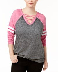 Almost Famous Trendy Plus Size Strappy Rugby T Shirt Fuchsia Ash