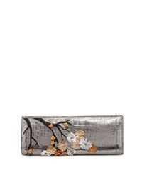 Nancy Gonzalez Cherry Blossom Crocodile Razor Clutch Bag Anthracite Anthracite Multi
