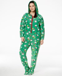 Hello Kitty Plus Size Holiday Hooded Footed Jumpsuit Green Christmas Lights