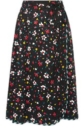 Marc Jacobs Floral Print Silk Jacquard Wrap Skirt Black
