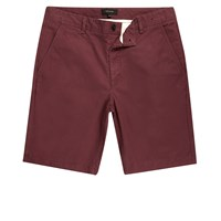 River Island Mens Burgundy Slim Fit Shorts Red