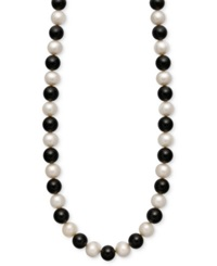 Macy's Cultured Freshwater Pearl 7 1 2 8 1 2Mm And Onyx 85 Ct. T.W. Strand Necklace In 14K Gold