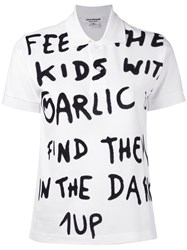 Comme Des Garcons Junya Watanabe Short Sleeve Slogan Polo Shirt Women Cotton M White