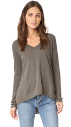 Wilt Side Slit Long Sleeve Tee Mushroom