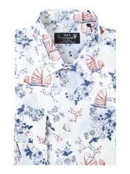 New And Lingwood Shanghai Print Shirt White