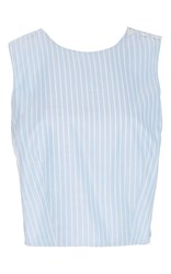 Mds Stripes Cotton Pinstriped Cross Back Top Blue