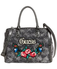 Guess Badlands Signature Denim Satchel Black Denim Silver