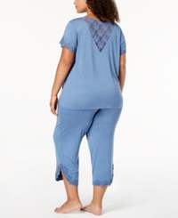 Inc International Concepts I.N.C. Plus Size Lace Trim V Back Pajama Set Blue Skyline