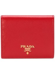 Prada Folded Wallet Leather Metal Other Red