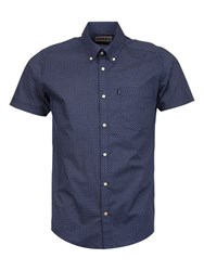 Barbour Theo Micro Print Tailored Shirt Navy