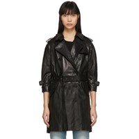 R 13 R13 Black Leather Three Quarter Sleeve Trench Jacket