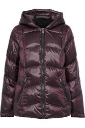 Donna Karan Woman Quilted Coated Shell Down Hooded Coat Burgundy