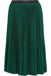 Vanessa Bruno Flo Plisse Metallic Stretch Knit Skirt Green