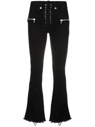 Unravel Project Drawstring Flared Trousers Black