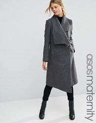 Asos Maternity Trapeze Waterfall Coat Grey Marl