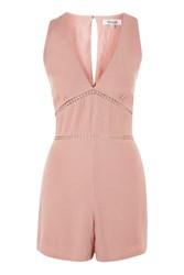 Wyldr Cascade Dusty Rose Sleeveless Playsuit With Trim Inserts By Pink