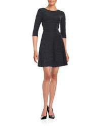Donna Morgan Textured Wave Stripe Fit And Flare Dress Black Grey