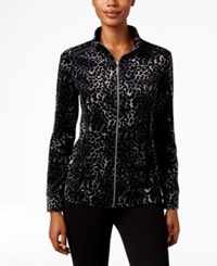 Karen Scott Petite Printed Mock Neck Jacket Only At Macy's Deep Black
