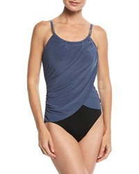 Magicsuit Lisa Solid Draped Front One Piece Swimsuit Gray