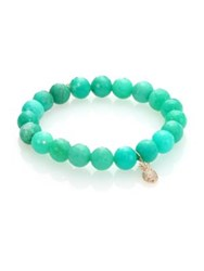 Sydney Evan Diamond Chrysoprase And 14K Yellow Gold Beaded Pineapple Bracelet