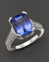 Bloomingdale's Cushion Cut Tanzanite And Diamond Ring In 14K White Gold