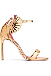 Oscar Tiye Malikah Mirrored Leather Sandals Gold