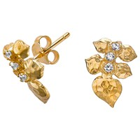 Dower And Hall White Topaz Wild Rose Leaf Stud Earrings Gold
