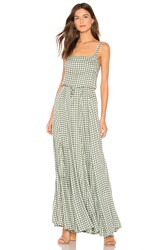 Auguste Gingham Paneled Maxi Dress Green