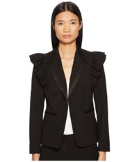 Rebecca Taylor Ruffle Wool Jacket Black Women's Coat