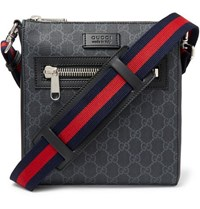 Gucci Leather Trimmed Monogrammed Coated Canvas Messenger Bag Black