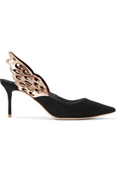 Sophia Webster Angelo Cutout Metallic Trimmed Leather And Suede Slingback Pumps Black