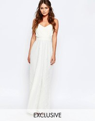 Elise Ryan Maxi Dress With Lace Skirt Cream