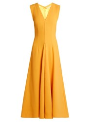 Emilia Wickstead Suki V Neck Sleeveless Wool Midi Dress Yellow