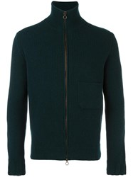 Boglioli Ribbed Zip Through Cardigan Green