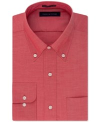 Tommy Hilfiger Men's Classic Fit Non Iron Solid Dress Shirt Cherry