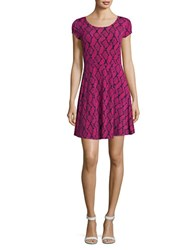 Michael Kors Snakeskin Print Fit And Flare Dress Electric Pink