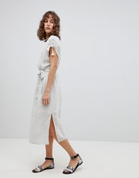 Suncoo Striped Midi Dress With Tassles Blanc Casse White