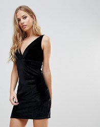 Wyldr Distractions Velvet Mini Dress With Front Pleating Detail Black
