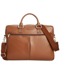 Perry Ellis Zip Top Leather Briefcase Top Zip Br