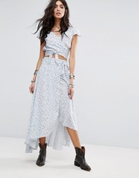 Denim And Supply Ralph Lauren By Printed Wrap Front Maxi Skirt Co Ord Xw5wl Blue