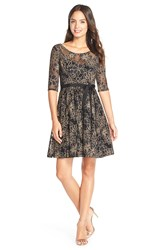 Plenty By Tracy Reese 'Estella' Burnout Lace Fit And Flare Dress Black