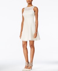 Guess Illusion Striped Fit And Flare Dress Ivory Gold